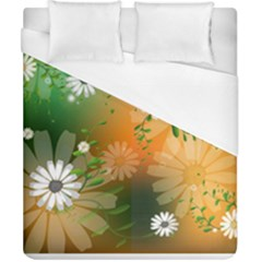 Beautiful Flowers With Leaves On Soft Background Duvet Cover Single Side (double Size) by FantasyWorld7