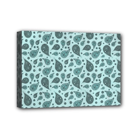 Vintage Paisley Aqua Mini Canvas 7  X 5  by MoreColorsinLife