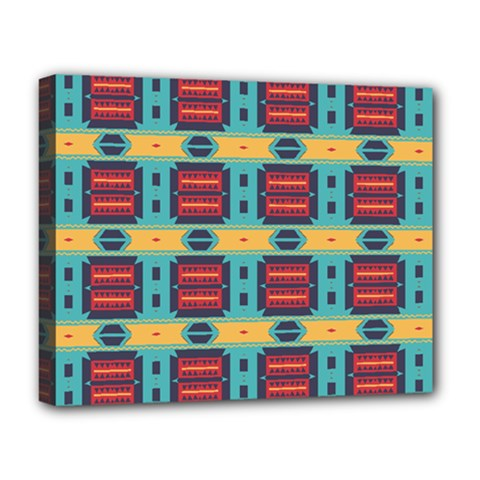 Blue Red And Yellow Shapes Pattern Deluxe Canvas 20  X 16  (stretched) by LalyLauraFLM