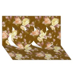 Vintage Roses Golden Twin Hearts 3d Greeting Card (8x4)  by MoreColorsinLife