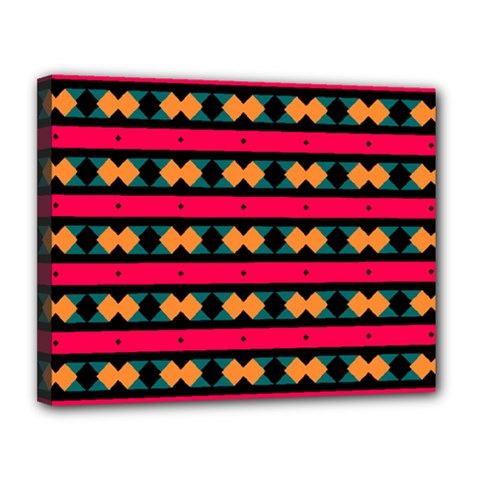 Rhombus And Stripes Pattern Canvas 14  X 11  (stretched) by LalyLauraFLM
