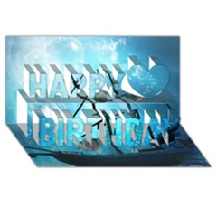 Awesome Ship Wreck With Dolphin And Light Effects Happy Birthday 3d Greeting Card (8x4)  by FantasyWorld7