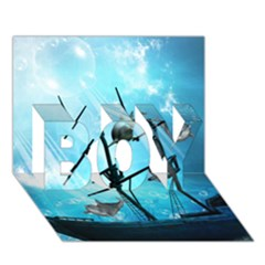 Awesome Ship Wreck With Dolphin And Light Effects Boy 3d Greeting Card (7x5) by FantasyWorld7