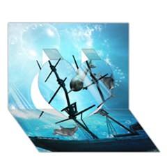 Awesome Ship Wreck With Dolphin And Light Effects Heart 3d Greeting Card (7x5)