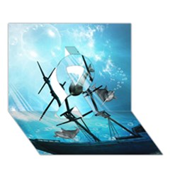 Awesome Ship Wreck With Dolphin And Light Effects Ribbon 3d Greeting Card (7x5)