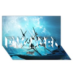 Awesome Ship Wreck With Dolphin And Light Effects Engaged 3d Greeting Card (8x4)  by FantasyWorld7