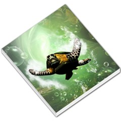 Wonderful Sea Turtle With Bubbles Small Memo Pads by FantasyWorld7