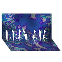 Unique Marbled Blue Best Sis 3d Greeting Card (8x4)  by MoreColorsinLife