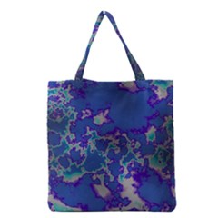 Unique Marbled Blue Grocery Tote Bags by MoreColorsinLife
