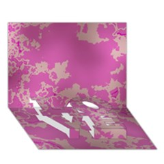 Unique Marbled Pink Love Bottom 3d Greeting Card (7x5)
