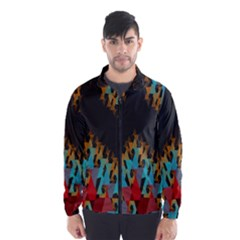 Blue, Gold, and Red Pattern Wind Breaker (Men) by theunrulyartist