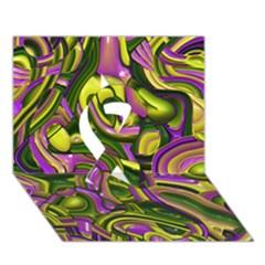 Art Deco Yellow Green Ribbon 3d Greeting Card (7x5)  by MoreColorsinLife