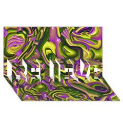 Art Deco Yellow Green Believe 3d Greeting Card (8x4)  by MoreColorsinLife