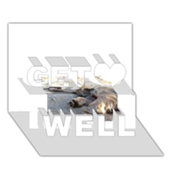 Cairn Terrier Sleeping On Beach Get Well 3D Greeting Card (7x5)  by TailWags