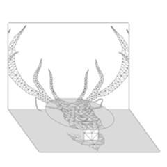 Modern Geometric Christmas Deer Illustration Circle Bottom 3d Greeting Card (7x5)  by Dushan
