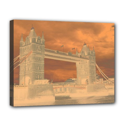 London Tower Bridge Special Effect Canvas 14  x 11  by MoreColorsinLife