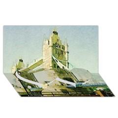 Watercolors, London Tower Bridge Twin Heart Bottom 3D Greeting Card (8x4)