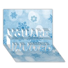 Winter Bokeh Blue You Are Invited 3d Greeting Card (7x5)  by MoreColorsinLife