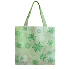Winter Bokeh Green Zipper Grocery Tote Bags by MoreColorsinLife