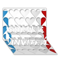 France Hearts Flag YOU ARE INVITED 3D Greeting Card (7x5)