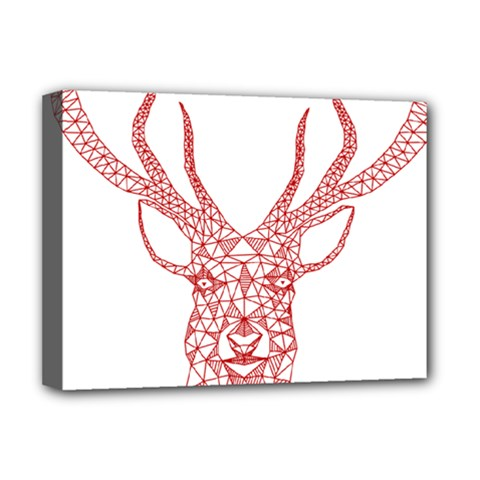 Modern red geometric christmas deer illustration Deluxe Canvas 16  x 12   by Dushan