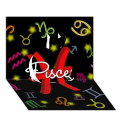 Pisces Floating Zodiac Sign Apple 3d Greeting Card (7x5)  by theimagezone