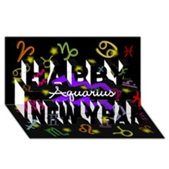 Aquarius Floating Zodiac Name Happy New Year 3d Greeting Card (8x4)  by theimagezone