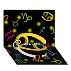 Cancer Floating Zodiac Name Circle Bottom 3d Greeting Card (7x5)  by theimagezone