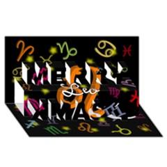 Leo Floating Zodiac Name Merry Xmas 3d Greeting Card (8x4)