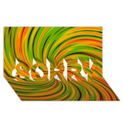Happy Green Orange Sorry 3d Greeting Card (8x4)