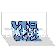 Blue maths signs ENGAGED 3D Greeting Card (8x4)