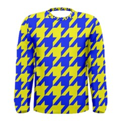 Houndstooth 2 Blue Men s Long Sleeve T Shirts by MoreColorsinLife