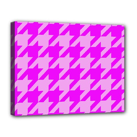 Houndstooth 2 Pink Canvas 14  X 11  by MoreColorsinLife