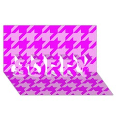 Houndstooth 2 Pink SORRY 3D Greeting Card (8x4)  by MoreColorsinLife