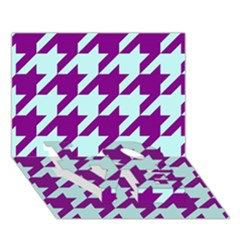 Houndstooth 2 Purple Love Bottom 3d Greeting Card (7x5)  by MoreColorsinLife