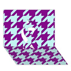 Houndstooth 2 Purple Ribbon 3d Greeting Card (7x5)  by MoreColorsinLife