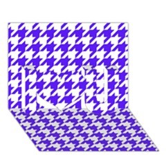 Houndstooth Blue I Love You 3D Greeting Card (7x5)  by MoreColorsinLife