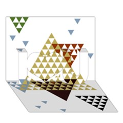 Colorful Modern Geometric Triangles Pattern I Love You 3d Greeting Card (7x5)  by Dushan