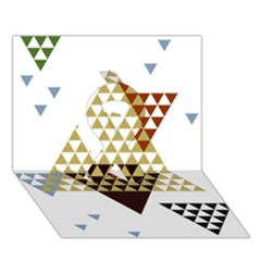 Colorful Modern Geometric Triangles Pattern Ribbon 3d Greeting Card (7x5)  by Dushan