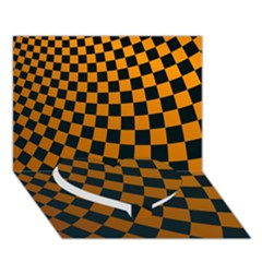 Abstract Square Checkers  Heart Bottom 3d Greeting Card (7x5)  by OZMedia