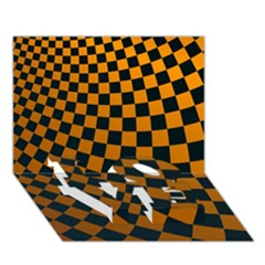 Abstract Square Checkers  Love Bottom 3d Greeting Card (7x5)  by OZMedia