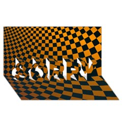 Abstract Square Checkers  Sorry 3d Greeting Card (8x4)