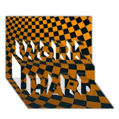 Abstract Square Checkers  Work Hard 3d Greeting Card (7x5)  by OZMedia