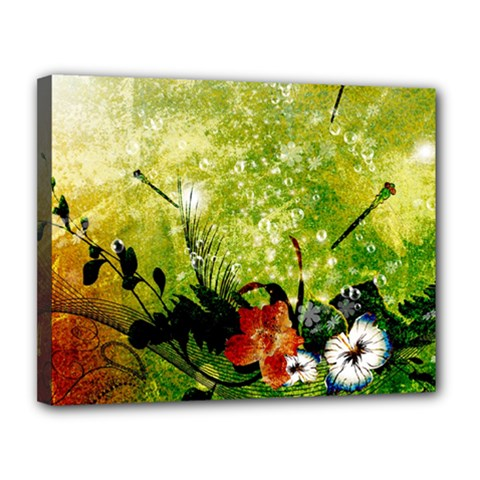 Awesome Flowers And Lleaves With Dragonflies On Red Green Background With Grunge Canvas 14  X 11  by FantasyWorld7