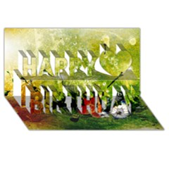 Awesome Flowers And Lleaves With Dragonflies On Red Green Background With Grunge Happy Birthday 3d Greeting Card (8x4)  by FantasyWorld7