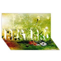 Awesome Flowers And Lleaves With Dragonflies On Red Green Background With Grunge Best Bro 3d Greeting Card (8x4)  by FantasyWorld7