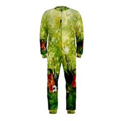Awesome Flowers And Lleaves With Dragonflies On Red Green Background With Grunge OnePiece Jumpsuit (Kids)