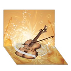 Wonderful Violin With Violin Bow On Soft Background Heart Bottom 3d Greeting Card (7x5)  by FantasyWorld7