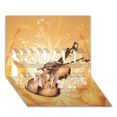 Wonderful Violin With Violin Bow On Soft Background You Are Invited 3d Greeting Card (7x5)  by FantasyWorld7