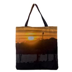 Aerial View Sunset Scene Of Montevideo Uruguay Grocery Tote Bags by dflcprints